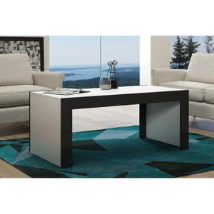 TABLE BASSE Tale basse en MDF Blanche mat et bordure noir laqu