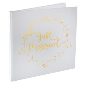 LIVRE D OR Livre d'or mariage Just Married blanc et or (x1) R