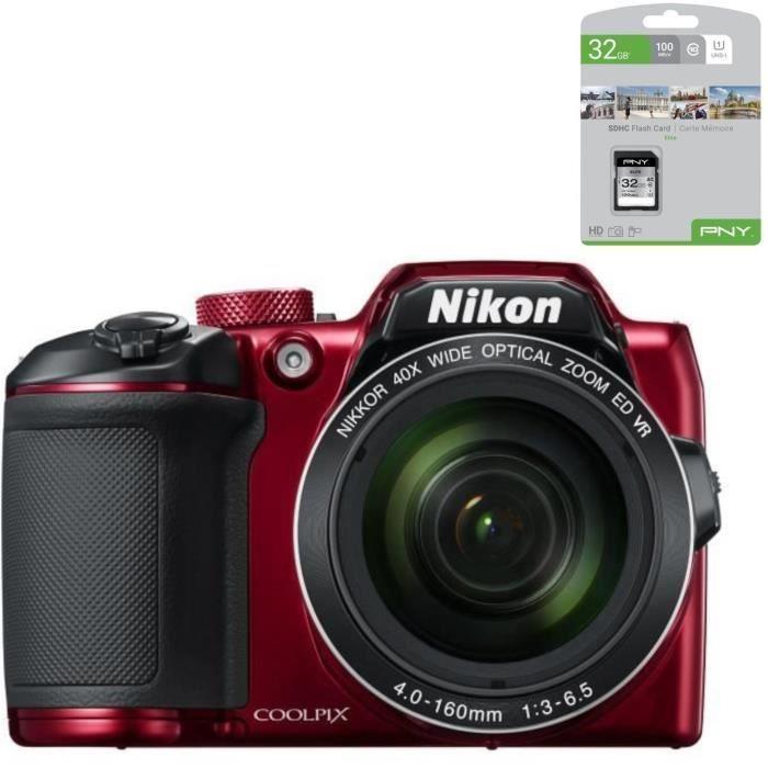 NIKON COOLPIX B500 - Appareil photo numérique Bridge - Bluetooth - Rouge + PNY Carte mémoire Offerte