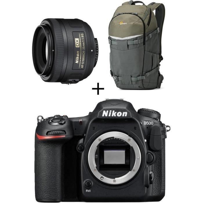 NIKON D500 Boîtier nu appareil photo Réflex + Objectif + Sac à dos pour Réflex