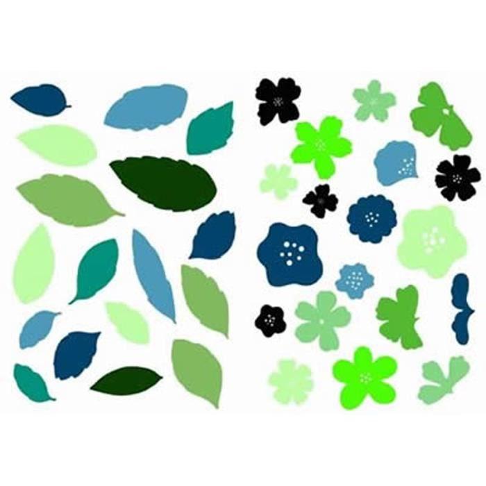 PLAGE Stickers adhésif mural Taille S - Floraison 2 planches 29,7 x 21 cm, divers motifs