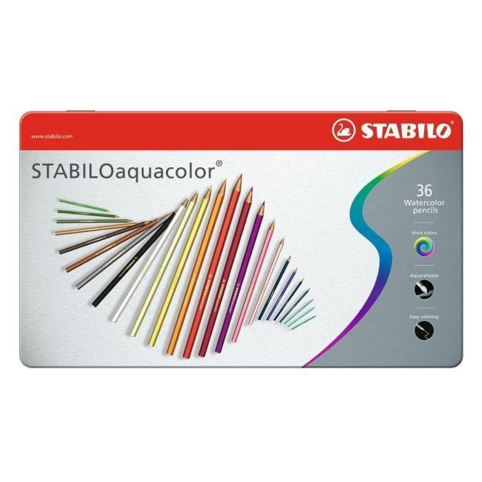 STABILO Boîte métal de 36 crayons de couleur aquarellables Aquacolor