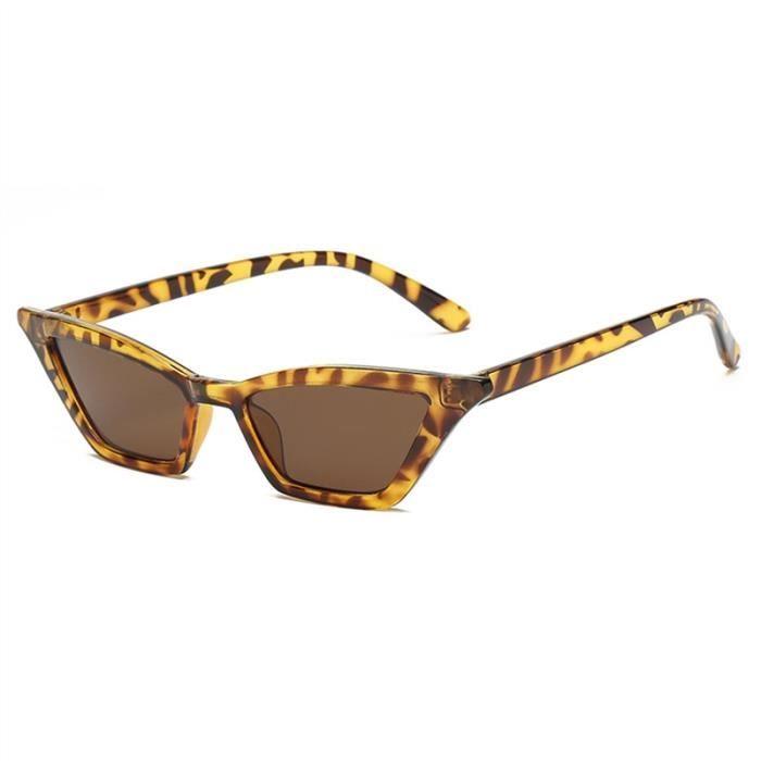 2018 Lunettes de soleil Cat Eye en plastique de lunettes de mode vintage  (cadre imprimé léopard et lentille marron) 8be1d4b1d020