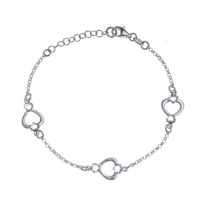 Bracelet argent rhodié - 3 cœurs - 17+3cm Gris