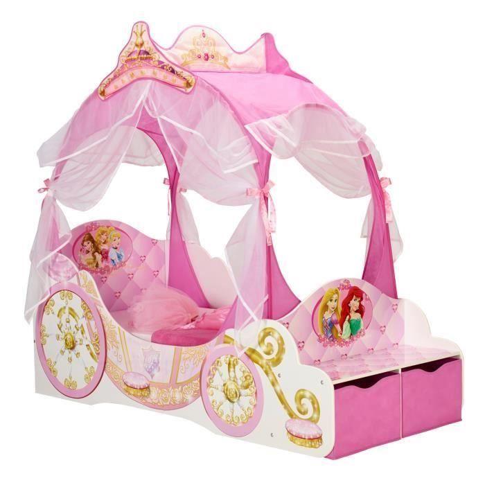 Chambre enfant Princesse (lit Carrosse 140x70 + tapis + lampe ...