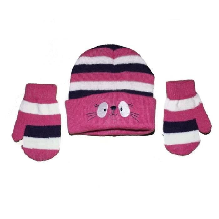 2e6554c2d6a Bonnet naissance en laine et moufles gants bébé filles chat rose ...
