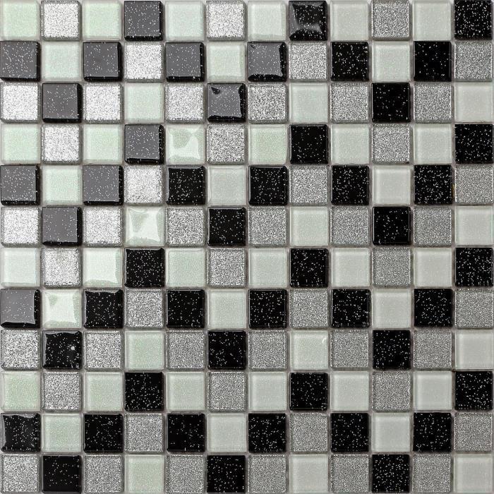 Carrelage mosa que en verre blanc noir argent pour les for Carrelage mosaique blanc