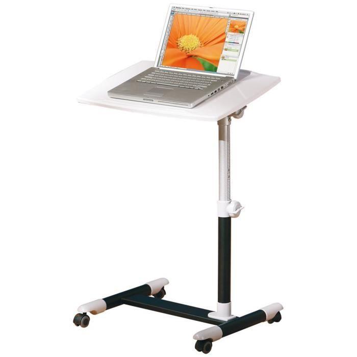 console sur roulettes pour ordinateur portable blanc dim 40 x 60 x 88 cm achat vente. Black Bedroom Furniture Sets. Home Design Ideas