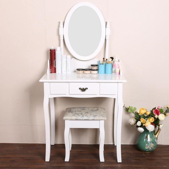 Coiffeuse avec miroir table de maquillage avec tabouret chambre achat vente coiffeuse - Miroir de chambre ...