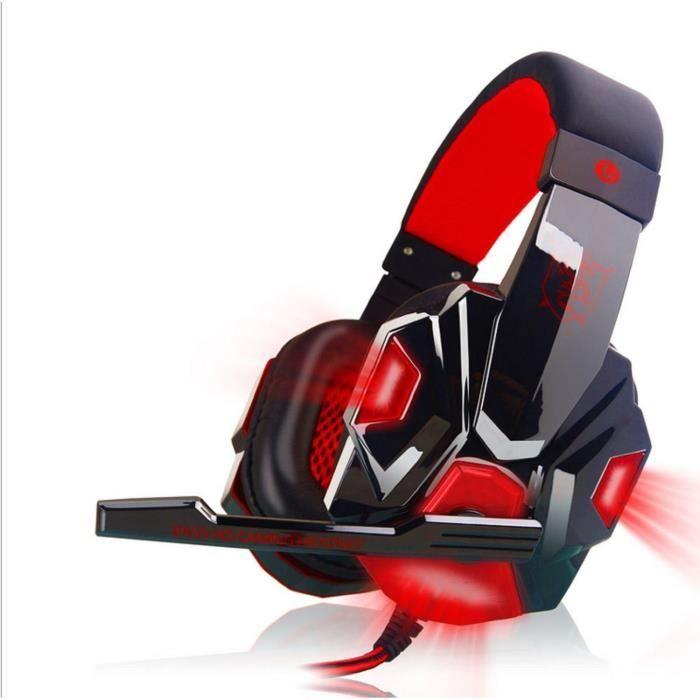 Casque-micro Gamer - Casque Gaming Filaire Microphone Pour Ordinateur Pc Jack Noir Rouge