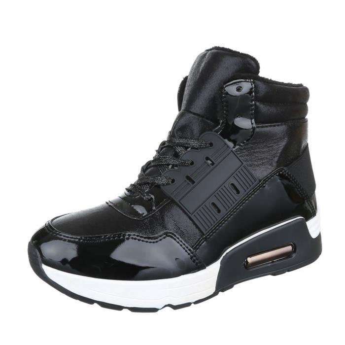 femme chaussures décontractées chaussure coureur chaussure de sportBaskets lacer ses noir
