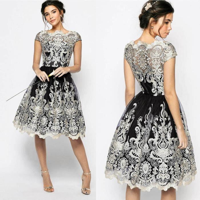 57f7c992d0e exquisgift®Dentelle de broderie noces cérémonie robe de soirée de  demoiselle d honneur robes de bal NOIR~WWC70829342BKA
