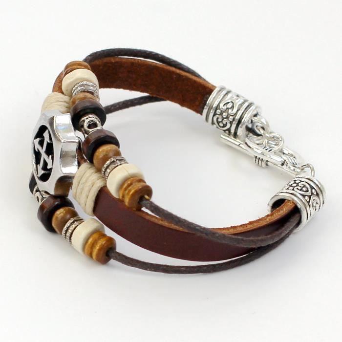 Femmes Bracelet en cuir Bracelet en cuir Croix Charm Bracelet Perles Bracelet Bracelet Cordes coton SZ5PY