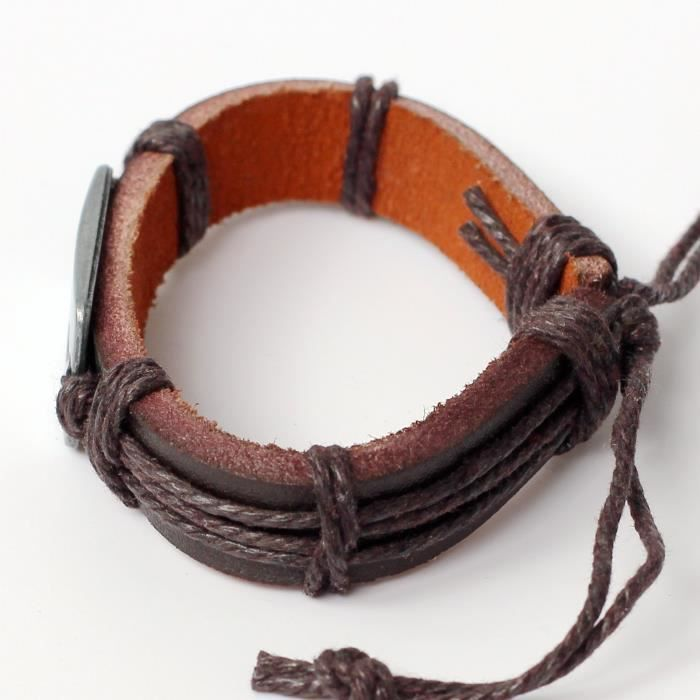 Bracelet en cuir pour femme en cuir Bracelet Bracelet à breloques Croix Cordons Bracelet Cordes Bracel PSQ4P