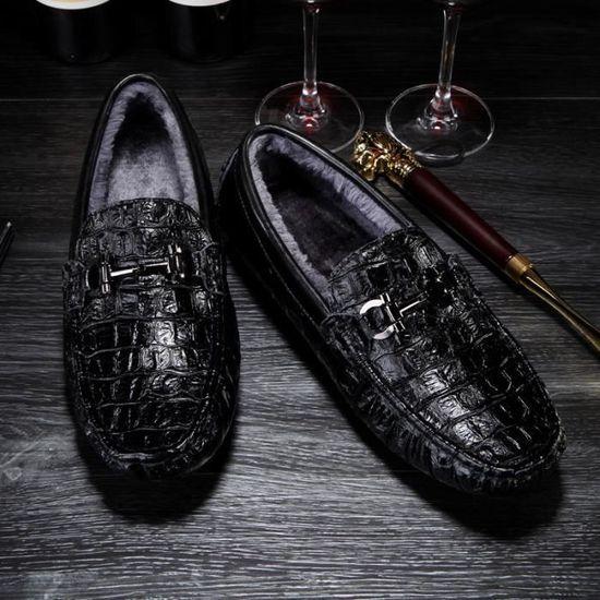 Chaud Chaussures Flats En 42 Hommes noir Mocassins Véritable Blanc Confortables Cuir Plat A0gzqgd