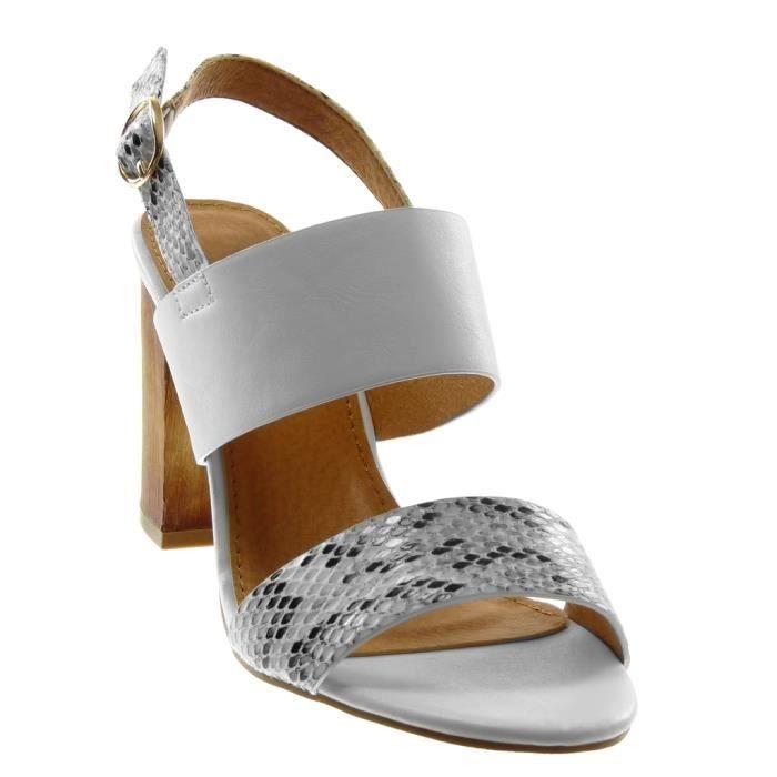 Angkorly - Chaussure Mode Sandale lanière cheville femme peau de serpent lanière Talon haut bloc 9.5 CM - Blanc - SK1127 T 35