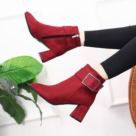 Mode femmes Bottes en Bracelet suède talon haut Boucle Bracelet en Bottes Chaussures Casual Martin Bottes qinhig839 Rouge Rouge - Achat / Vente botte 70bb80