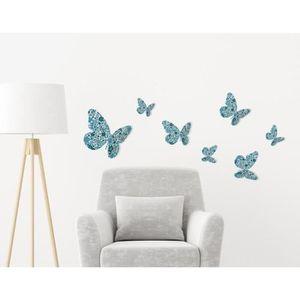 Sticker déco Papillons 3D Liberty azur PVC Bleu