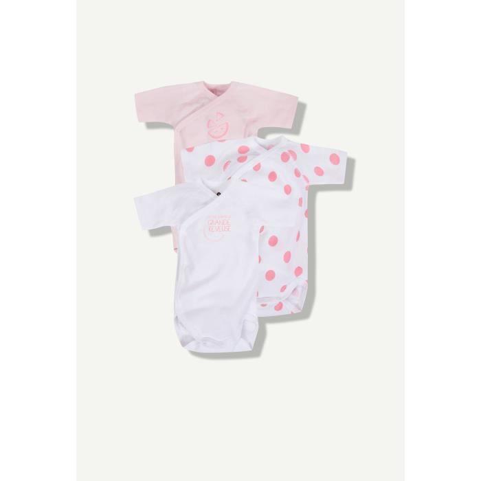 Z Lot de 3 bodies bébé fille - manches courtes - Blanc rose et à ... 4d2ef61f565