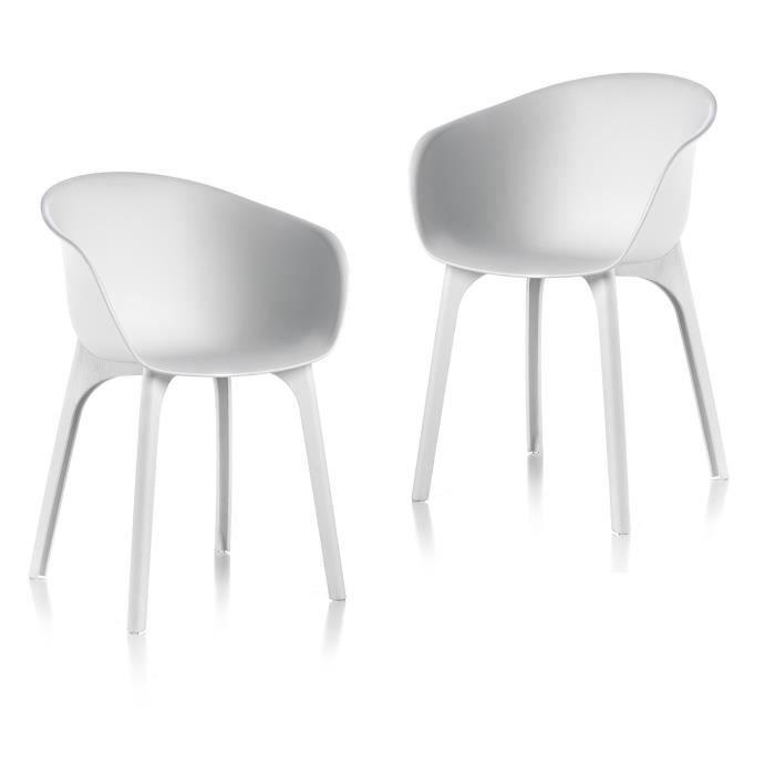IDEA Lot de 2 Chaises de jardin Diva Blanc