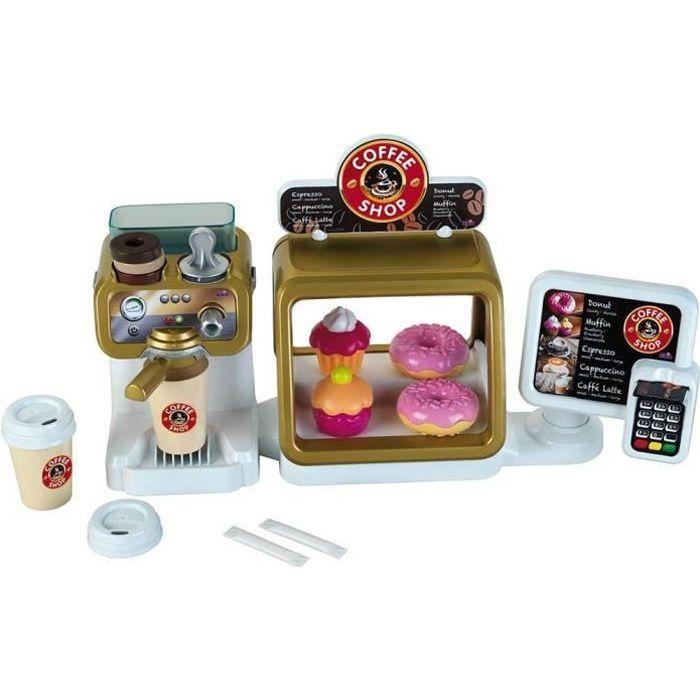 COFFEE SHOP - Bar à Café - Ecran Tactile et Lecteur de Cartes (6 Sons) - Ecoulement d'eau et Accessoires