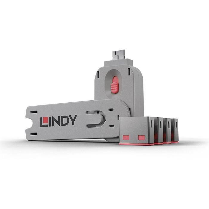 LINDY Clé USB et 4 bloqueurs de ports USB - Rouge