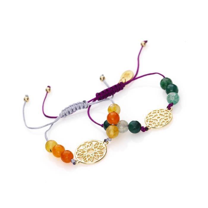 Longueur 21 cm - Le kit est conçu pour réaliser 2 bracelets - Il contient : fil nylon - pierres semi-précieuseKIT BIJOUX