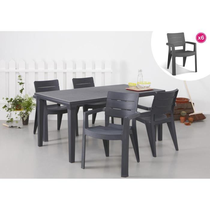 Salon de jardin: table graphite + 6 fauteuils graphite - Achat ...