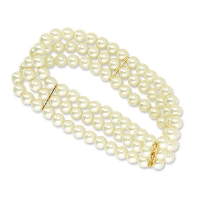 Gold tone Cultura Perle verre-Bracelet Stretch