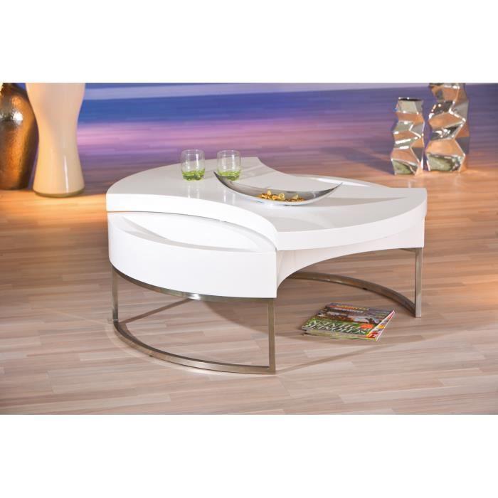 table basse ronde avec rangement coloris blanc et acier achat vente table basse table basse. Black Bedroom Furniture Sets. Home Design Ideas