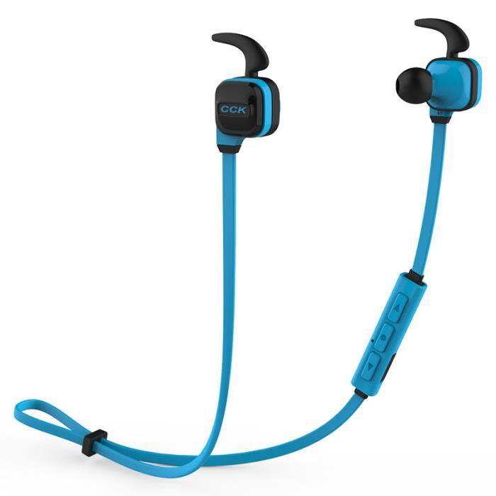 Cck Ks Écouteurs Bluetooth Headphones Sportif Sans Fil Sports Accessoire Durable - Bleu