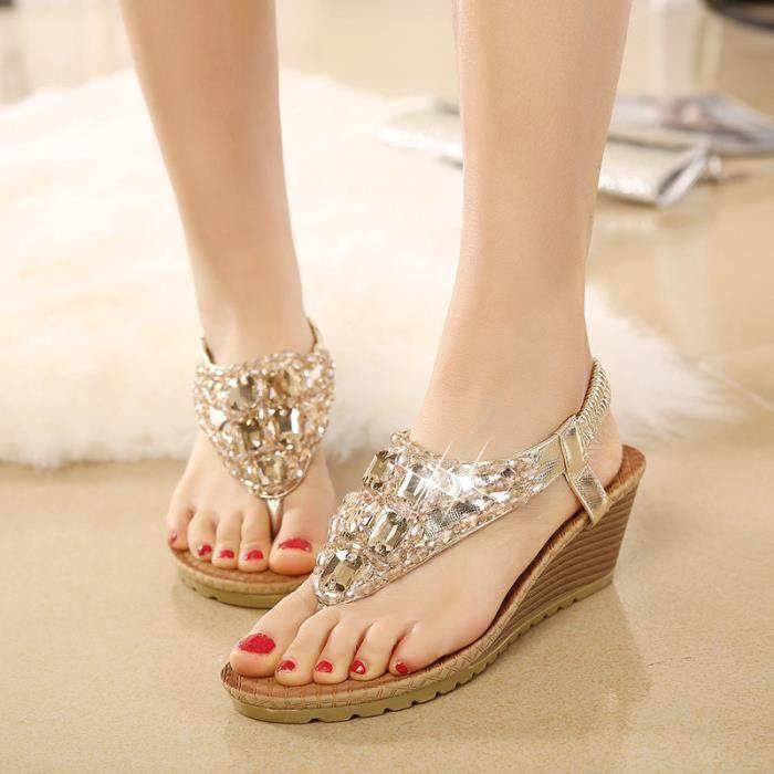 À Femme Sandales Talons Compensés Chaussures Jaune Achat nNm08w