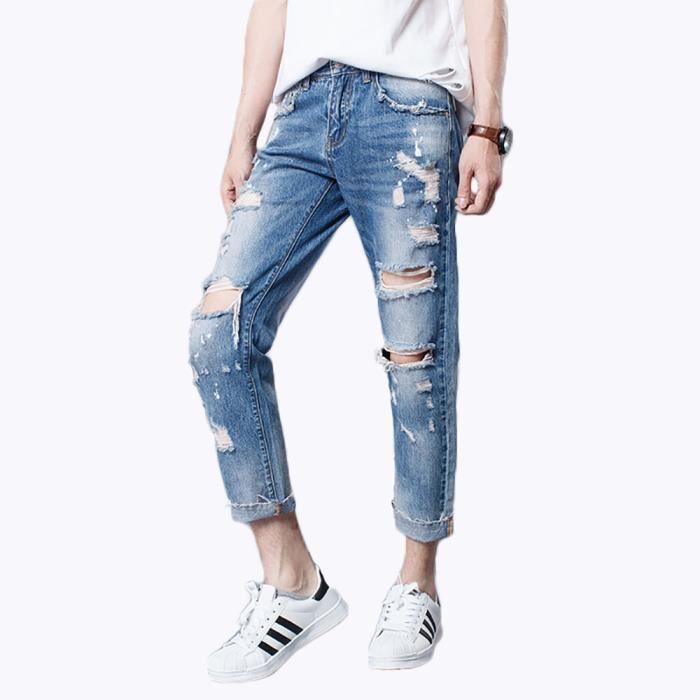 2523612493b93 Jeans Déchirés Homme Pantalon Cigare En Jean Homme Jeans De Loisir Homme  Jeans Droit Homme,Bleu,44