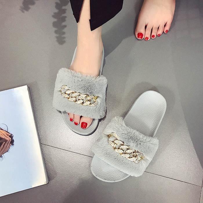Femmes Dames Slip On Sliders Fluffy Faux Fourrure Flat Slipper Flip Flop Sandale vert 6bg8Xa