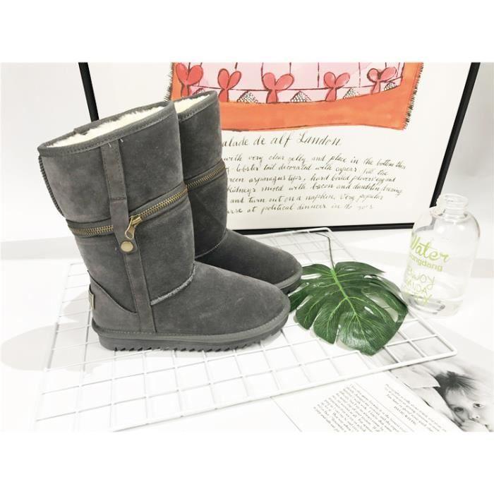 Bottes Ladies hiver deux à porter zipper bottes de neige chaussures de coton chaud