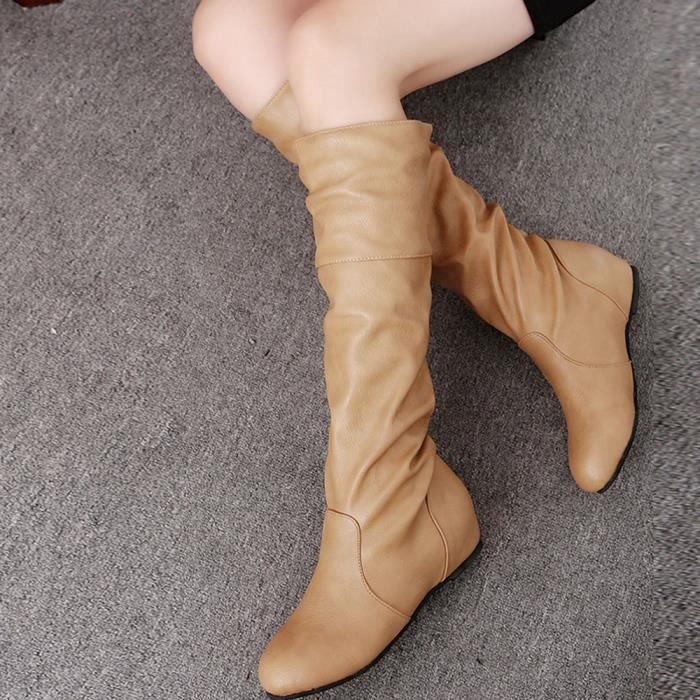 Femmes hiver couleur unie plat Martin pointu haute longues bottes chaussures de sport XMM71204534_1001