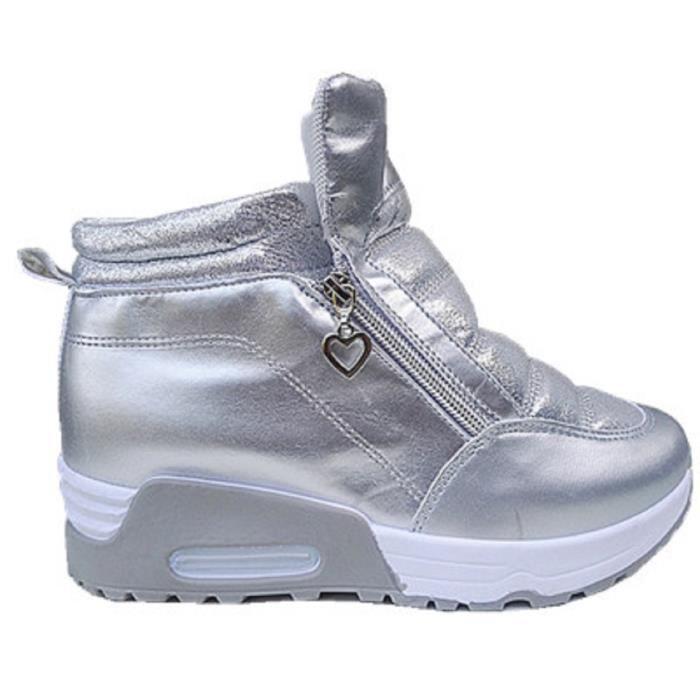 14cfd463a48178 Fashionfolie888 - Femme Basket compensées montante chaussure fille lacet  sport mode chic WB-550 ARGENTE