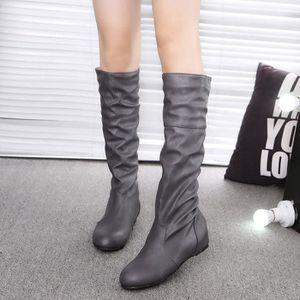 Femmes hiver couleur unie plat Martin pointu haute longues bottes chaussures de sport XMM71204534_1001 2a5Tx1QEUK