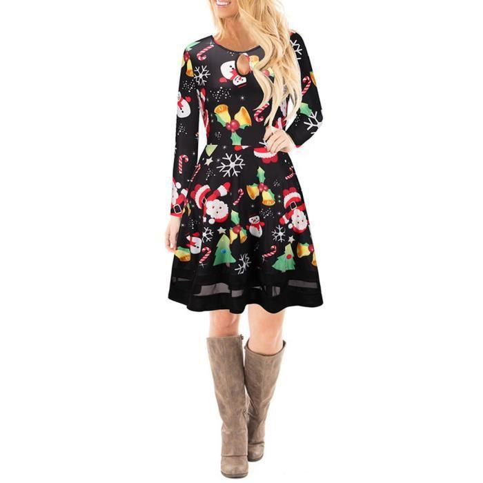 Les femmes de Noël imprimé robe en dentelle dames manches longues mini robe YHL71018187XL