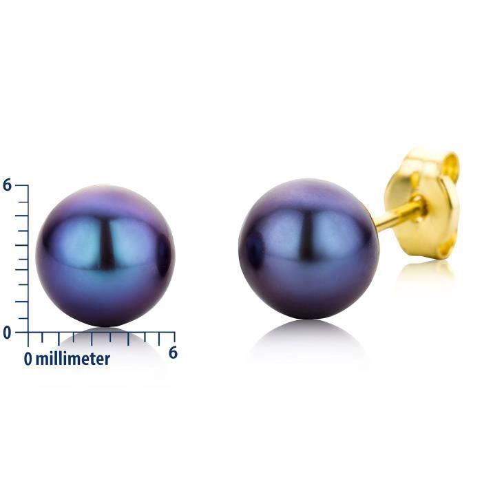 Miore9 Ct (375) bleu en or jaune Boucles doreilles Pearl Stud Cultured de 6 mm 1FSC9D