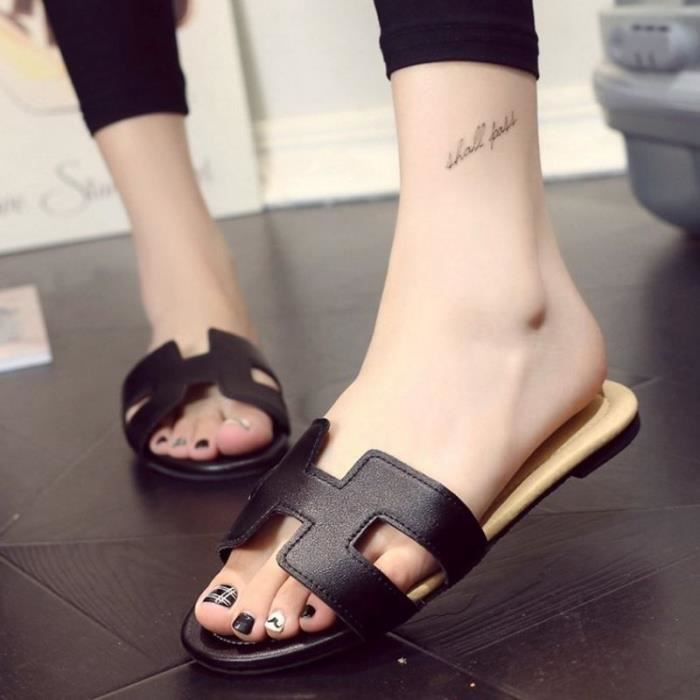 Girls' Slip On Backless Loafers Casual Leather Mule Shoes O3I5W Taille-39 1-2 k4UgFRE