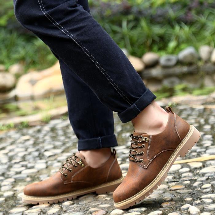 Bottes vache véritable main en cuir cheville mode Martin Bottes Hommes Riv- Chaussures plates Marque Casual Oxford,marron foncé,39