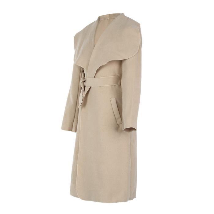 Long Poche Ceinture Laine Outwear De En Femmes Pageare7693 Mélangée Manteau D'hiver Lapel Large wOnvYqp