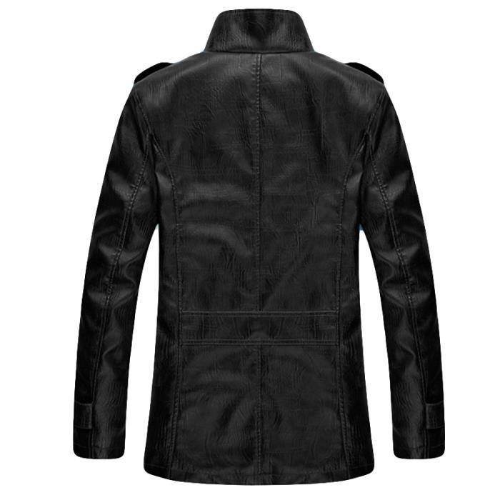 Côté En Marque Poches Le Slim Masculin Pointe Homme Hommes Pu Noir Luxe Veste Cuir Col Sur Vêtement ROqCw