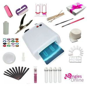 FAUX ONGLES Kit éco faux ongles manucure gel uv lampe capsules