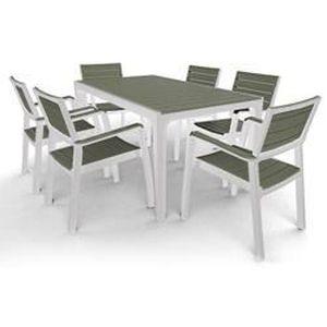 Salon de jardin résine Coloris blanc taupe - Achat / Vente salon de ...