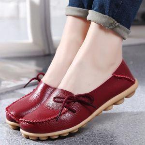 MOCASSIN Femmes Casual Chaussures en Cuir Doux confortable