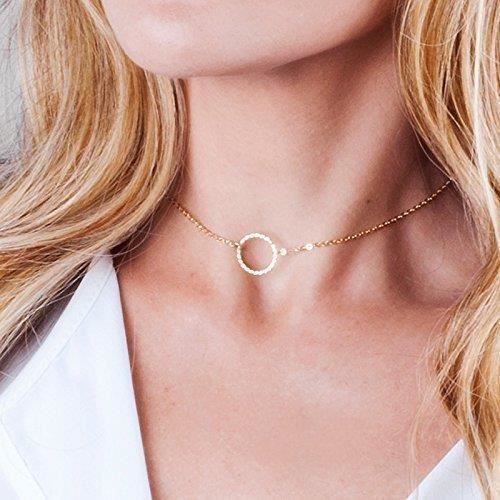 Womens Open Circle Choker Necklace - Minimalist Gold Filled Karma Collar Chain 13.5 Inch + 3 InchIR4LJ