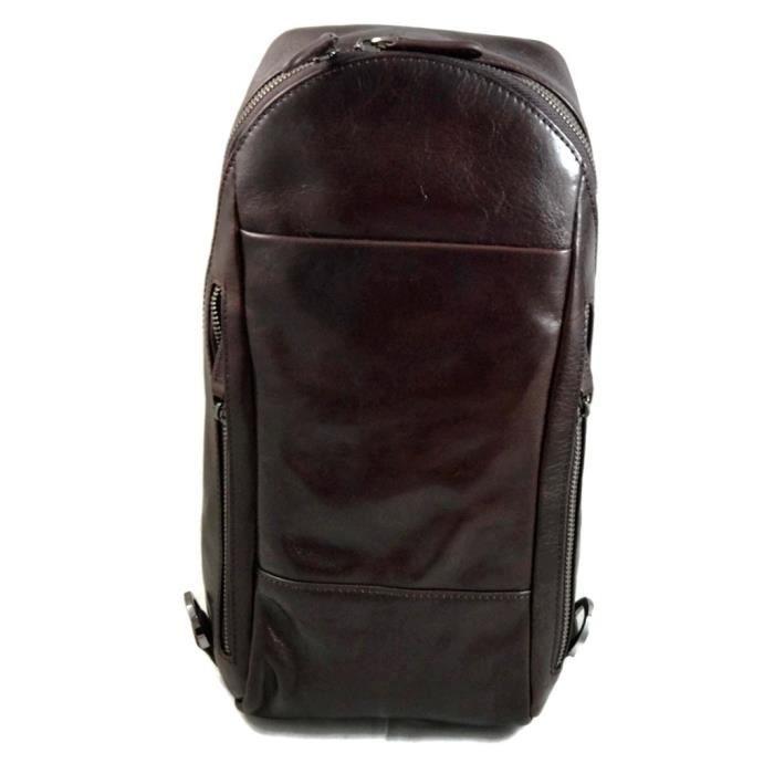 Sac à dos bandoulière en cuir sac homme sac à bandoulière brun f