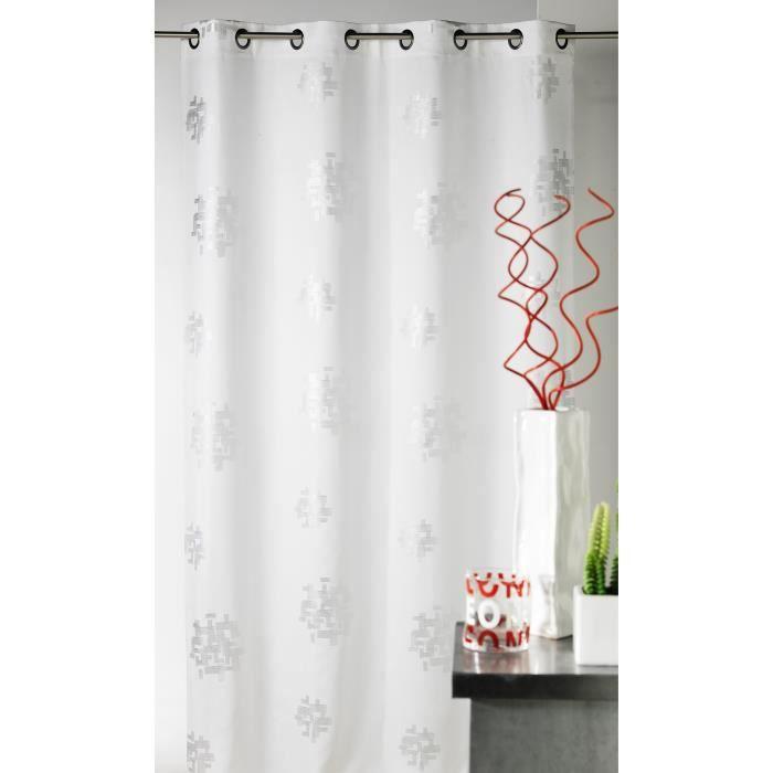 rideau blanc motif argent achat vente pas cher. Black Bedroom Furniture Sets. Home Design Ideas
